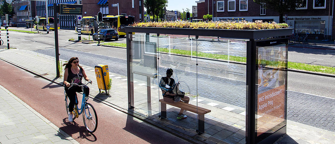 bus stop with green roof