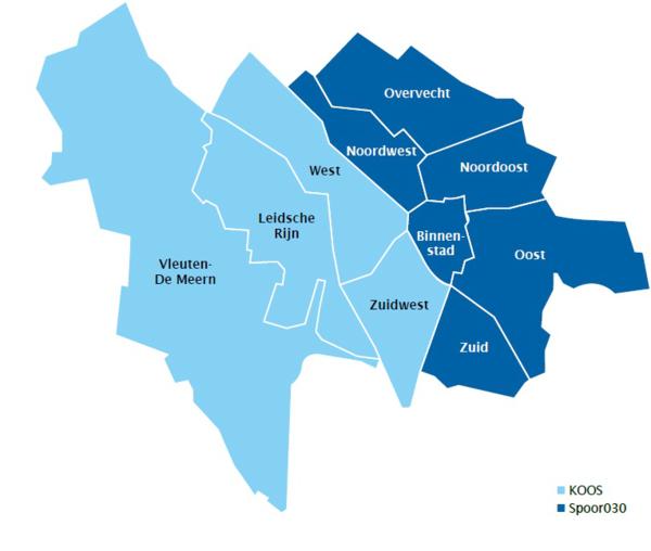 in het westen van de gemeente is KOOS actief, in het oosten Spoor030. zie overzicht hierboven voor de precieze verdeling.