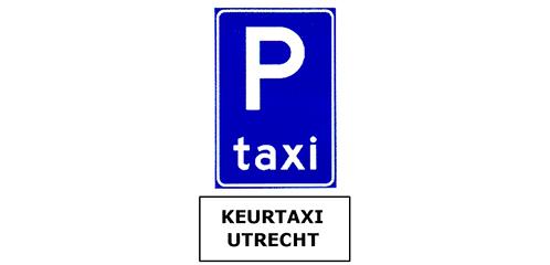 Verkeersbord met onderbord Keurtaxi Utrecht
